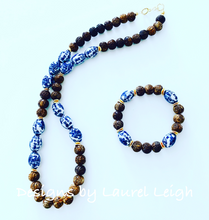 Load image into Gallery viewer, Brown Carved Horn Chinoiserie Beaded Statement Necklace - Ginger jar