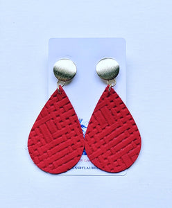 Gold and Red Leather Basketweave Statement Earrings - Posts - Designs by Laurel Leigh