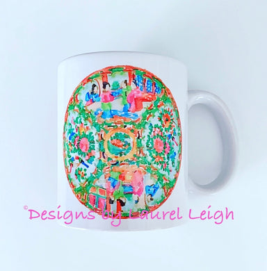 Rose Medallion Watercolor Coffee Mug - 2 Designs - Ginger jar