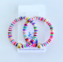 Load image into Gallery viewer, Multicolored African Vinyl Disc Hammered Bead Hoops