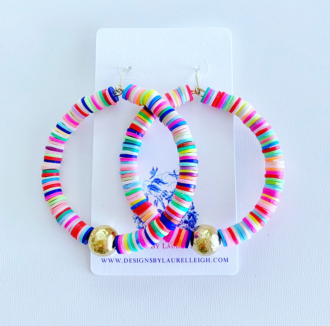 Multicolored African Vinyl Disc Hammered Bead Hoops