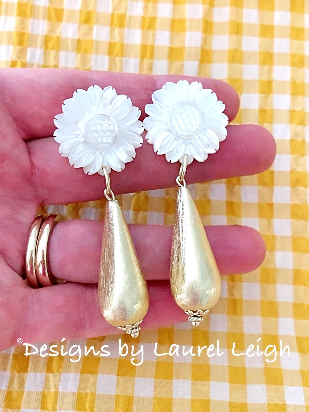 Gold & White Mother of Pearl Sunflower Teardrop Earrings