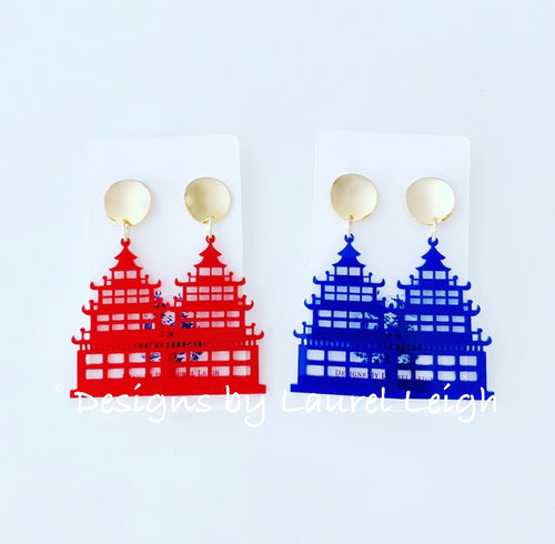 Chinoiserie Chic Pagoda Earrings - Red or Royal Blue - Ginger jar