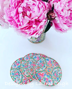 Sandstone Rose Medallion Beverage Coasters - Set of 4 - Ginger jar