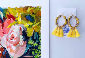 Yellow Chinoiserie Cloisonné Tassel Earrings