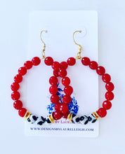 Load image into Gallery viewer, Red, Black & White Game day Beaded Hoop Earrings - 2 Styles - Ginger jar