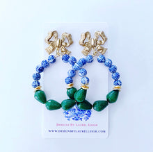 Load image into Gallery viewer, Chinoiserie Beaded Bow Post Hoops - Emerald Green