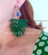 Load image into Gallery viewer, Monstera Chinoiserie Tropical Palm Leaf Statement Earrings - Green - Ginger jar