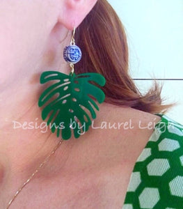 Monstera Chinoiserie Tropical Palm Leaf Statement Earrings - Green - Ginger jar