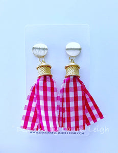 Silk Gingham Tassel Statement Earrings - Pink - Ginger jar