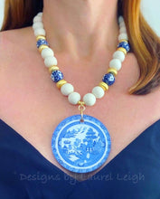 Load image into Gallery viewer, Blue Willow Chinoiserie Double Happiness Pendant Statement Necklace - White - Ginger jar