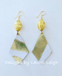 Gold & White Striped Leather Statement Earrings - Ginger jar