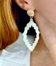 Load image into Gallery viewer, Faux Stingray Leather Marquis Statement Earrings - Gold or Silver - Ginger jar