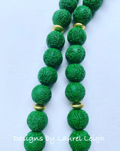 Load image into Gallery viewer, Green and Gold Chinoiserie Double Happiness Pendant Statement Necklace - Ginger jar