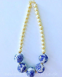 Blue and White Chunky Floral Statement Necklace - Gold - Ginger jar
