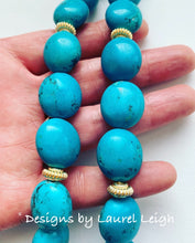 Load image into Gallery viewer, Turquoise & Gold Pendant Statement Necklace - Ginger jar