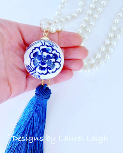 Blue and White Chinoiserie Pearl & Tassel Statement Necklace - Ginger jar