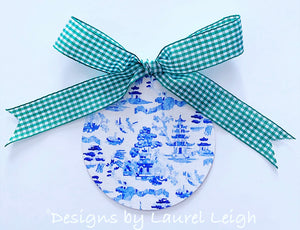 Chinoiserie Christmas Ornament- Watercolor Blue Willow Pattern