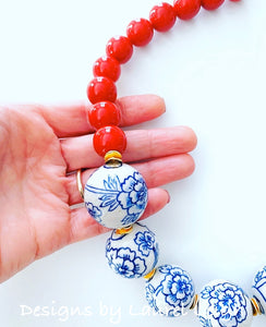 Chunky Chinoiserie Floral Beaded Statement Necklace - Red - Ginger jar