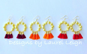 Gold Beaded Hoop Tassel Earrings - Red, Orange, Wine - Ginger jar