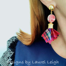 Load image into Gallery viewer, Chinoiserie Sari Silk Tartan Plaid Tassel Statement Earrings