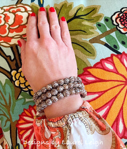 Brown and White Dainty Chinoiserie Beaded Bracelet