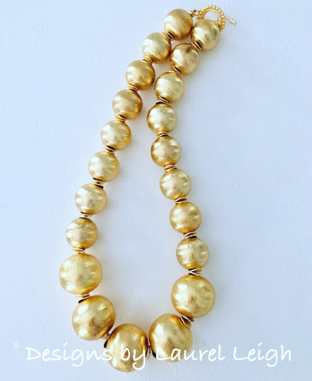 Chunky Gold Graduated Bead Statement Necklace - Ginger jar