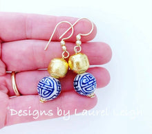 Load image into Gallery viewer, Blue, White and Gold Chinoiserie Longevity Drop Earrings - POSTS OR HOOKS