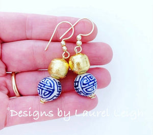 Blue, White and Gold Chinoiserie Longevity Drop Earrings - POSTS OR HOOKS