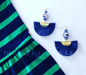 Chinoiserie Ginger Jar Fan Tassel Earrings - Navy - Ginger jar