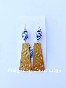 Chinoiserie Chippendale Statement Earrings - Gold/Blue & White - Ginger jar