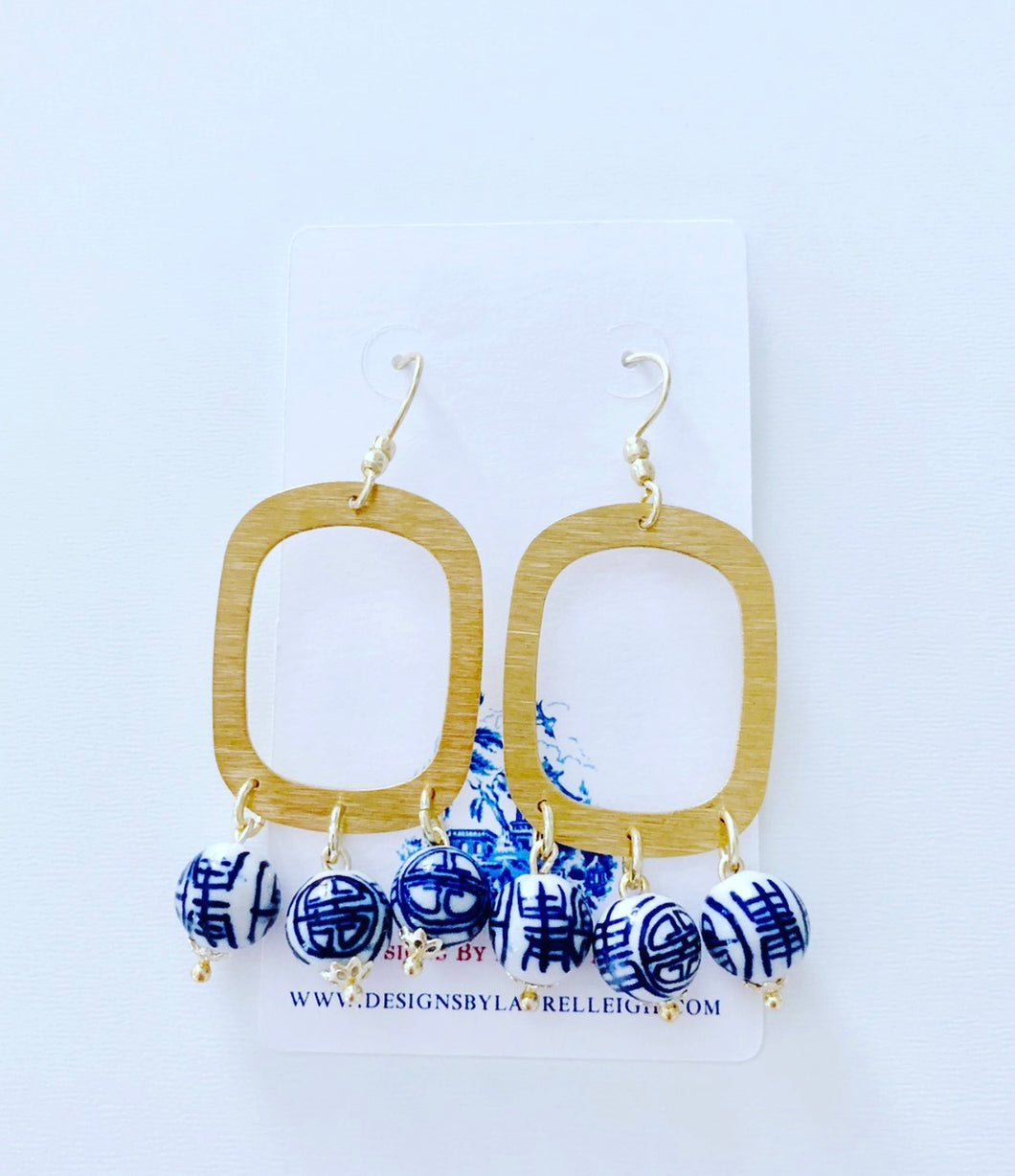 Gold & Chinoiserie Bead Chandelier Earrings - Ginger jar