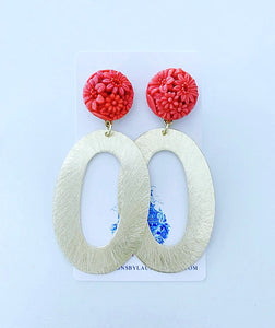 Coral & Gold Floral Earrings - Ginger jar