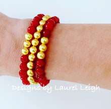 Load image into Gallery viewer, Dainty Red Gemstone & Gold Beaded Bracelet - Singles or Stack - Ginger jar