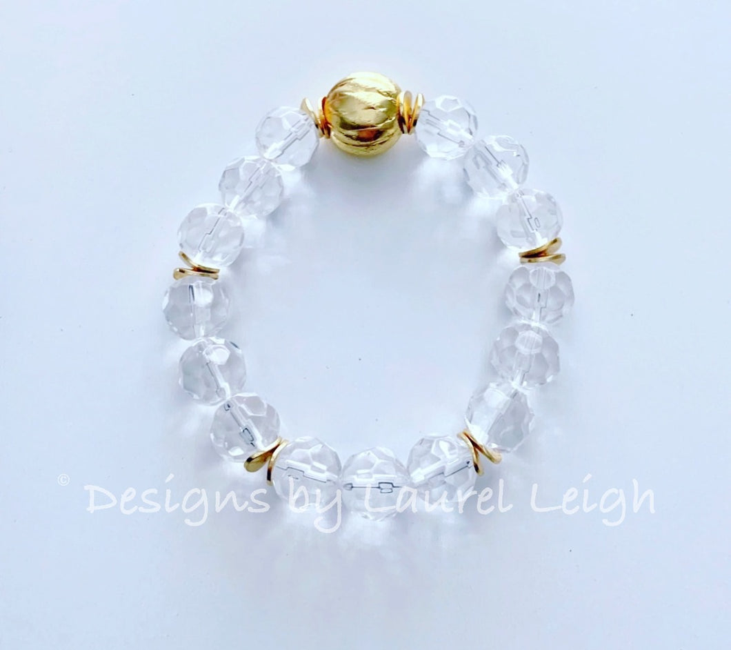 Gold and Crystal Beaded Statement Bracelet - Ginger jar