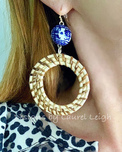 Chinoiserie Rattan Double Happiness Earrings - Natural or Brown - Ginger jar