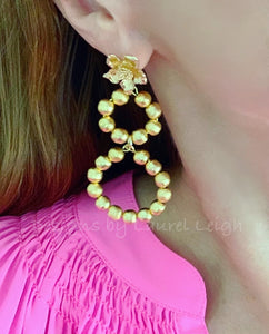 Gold Dogwood Blossom Beaded Drop Hoops - Two Styles - Ginger jar