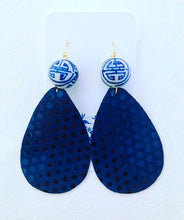 Load image into Gallery viewer, Blue and White Chinoiserie Leather Polka Dot Statement Earrings - Navy - Ginger jar