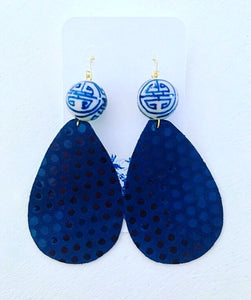 Blue and White Chinoiserie Leather Polka Dot Statement Earrings - Navy - Ginger jar