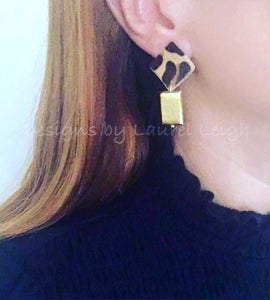 Gold & Leather Leopard Print Post Earrings - Ginger jar