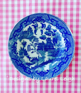 Blue Willow Gingham Chinoiserie Framed Shadow Box Art - Ginger jar
