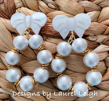 Load image into Gallery viewer, Gold & Pearl Bow Statement Earrings
