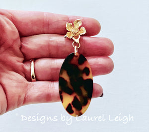 Tortoise Shell & Dogwood Blossom Statement Earrings - 3 Styles - Designs by Laurel Leigh