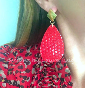 Leather Polka Dot Statement Earrings - Red - Ginger jar
