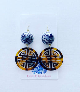 Chinoiserie Longevity Symbol Tortoise Shell Earrings - Ginger jar