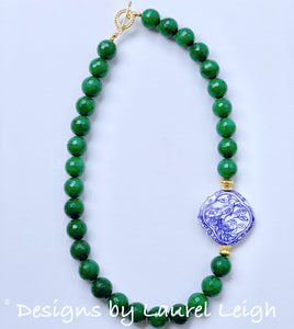 Chunky Green Jade Chinoiserie Statement Necklace - Ginger jar