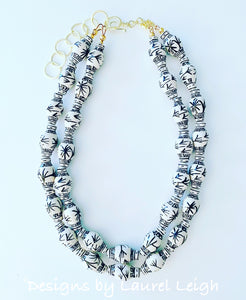 Chinoiserie Double Strand Ginger Jar Statement Necklace - Black & White
