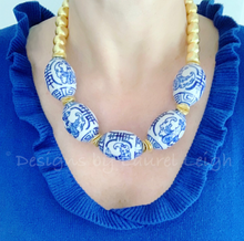 Load image into Gallery viewer, Blue and White Chinoiserie Chunky Gold Statement Necklace - Ginger jar