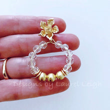 Load image into Gallery viewer, Crystal & Gold Dogwood Blossom Post Hoop Earrings - Ginger jar