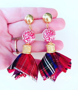 Chinoiserie Sari Silk Tartan Plaid Tassel Statement Earrings